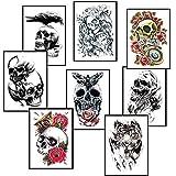 si ying Temporary Tattoos Arm Sticker Roses, 8 Sheets Skulls Art Arm Sticker Body Waterproof Tattoo