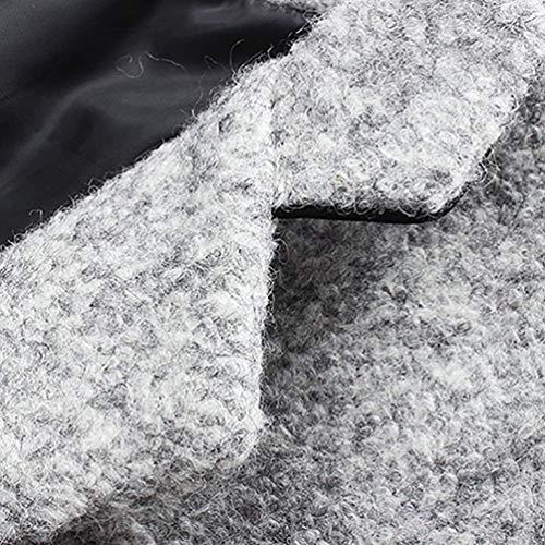 Licht Sleeve Men's Coat Grau Jackets Huixin Apparel Lapel Outerwear Single Jacket Outwear Breasted Long Front Coat Coat Pockets wqad5x5TI