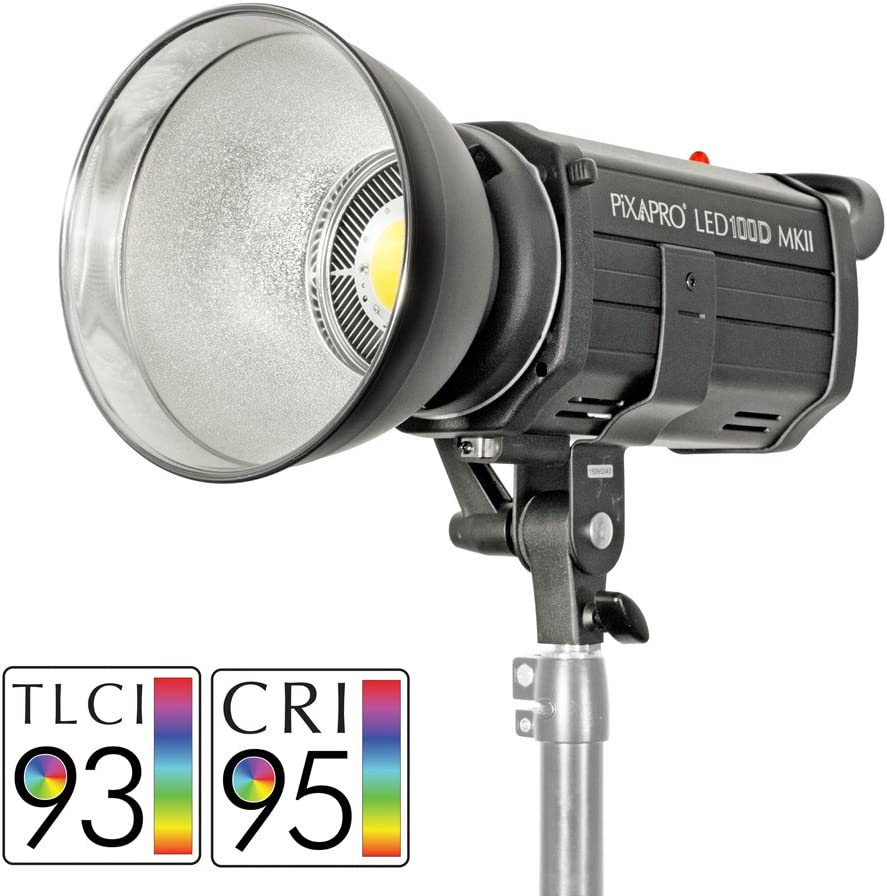 PIXAPRO LED100D MKII Daylight LED Continuous Studio Video Interview Film Light Bowens S-Type Fit Dimmable Video Continuous Constant Green Screen Lighting Single Unit, Standard Improved Colour