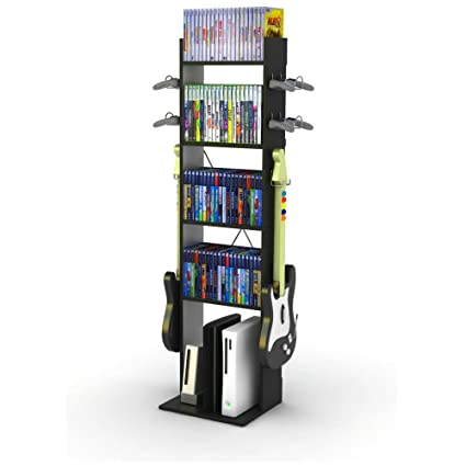 Charmant Video Game Console Organizer Black Controller Stand Storage Rack Organizer  Tower With Shelves And Hooks Multi