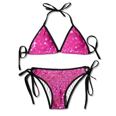 aee64dd65a96a Amazon.com  ALEISIN Pink Glitter Bikini Women s Summer Swimwear ...