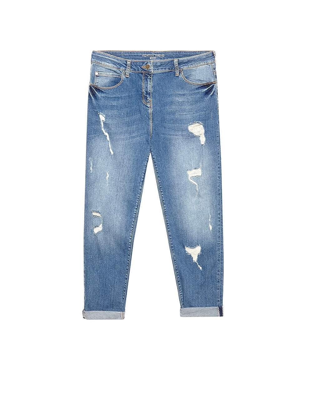 Fiorella Rubino Jeans boyfit Destroyed Italian Plus Size