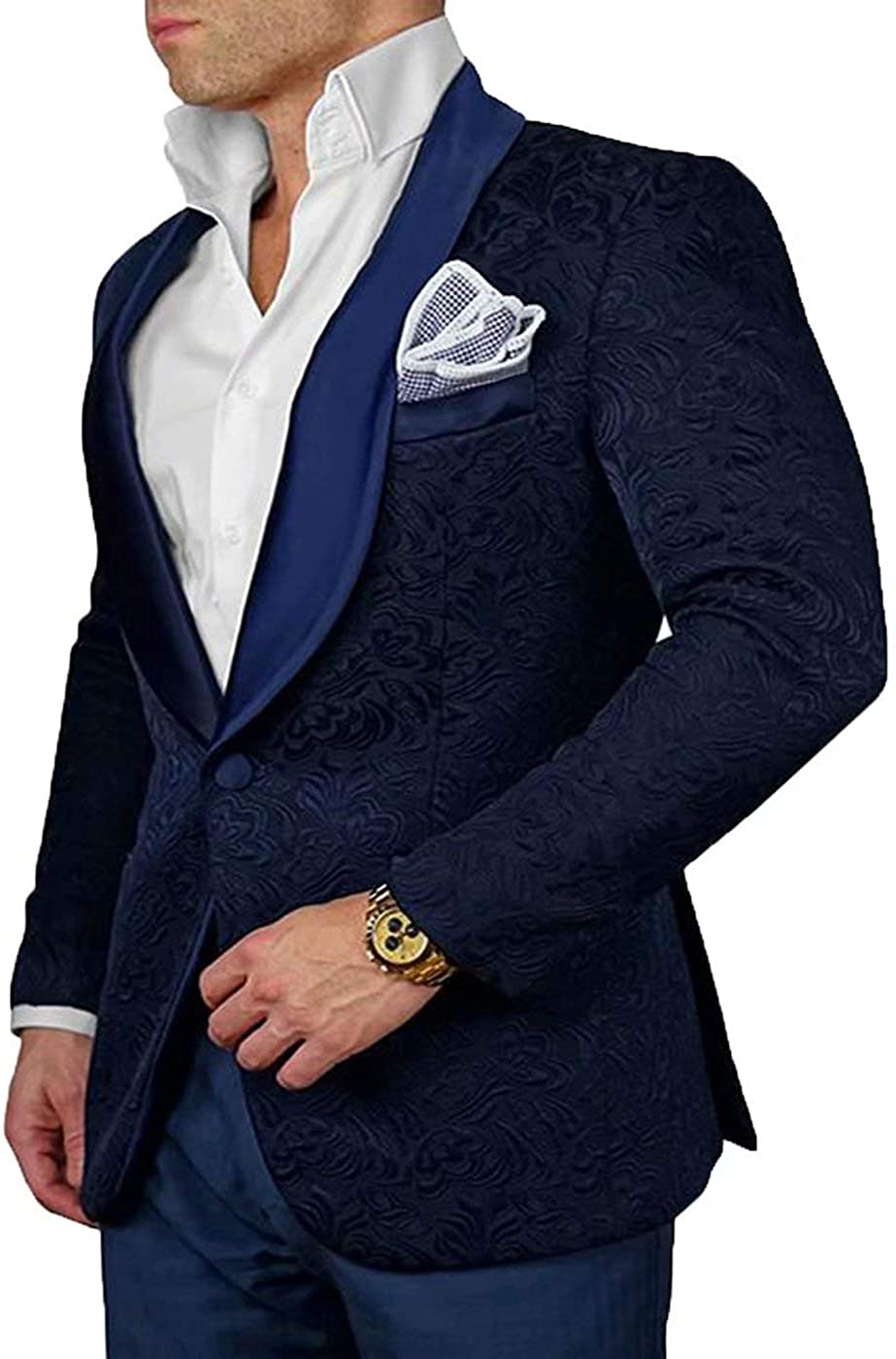 RONGKIM Mens Slim Fit One Button Business Suit Wedding Suits Groom Tuxedos Floral Prom Dress Suit