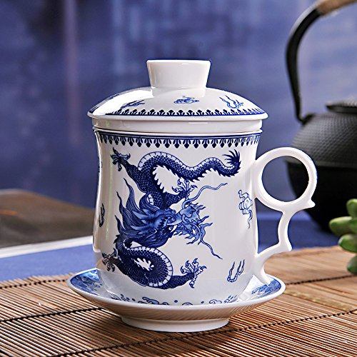 ufengke4-piece dehua ceramic tea cup with filter, saucer, and lid-blue&white and dragons (Vintage Tea Cups Cheap)