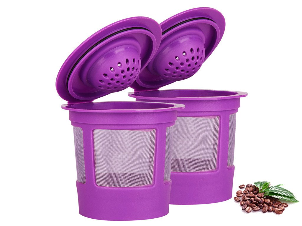 Maxware Compatible 2 Reusable K Cup Coffee Filters Replacement For Keurig Family 2.0 and 1.0 Brewers Fits K200, K300/K350, K400/K450/K460, K500/K550/K560 (Purple, 2)