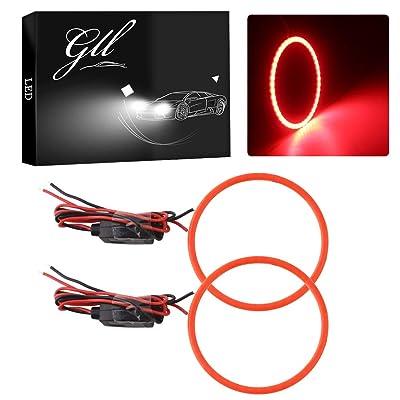 GrandviewTM 2X 70mm 60SMD COB Led Angel Eyes Headlight Halo Ring Warning Lamp-Red: Automotive