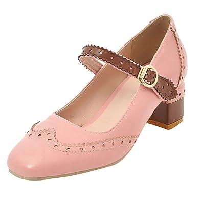 UH Damen Chunky Heels Slingback Pumps Mary Jane Sandalen Bequeme Schuhe