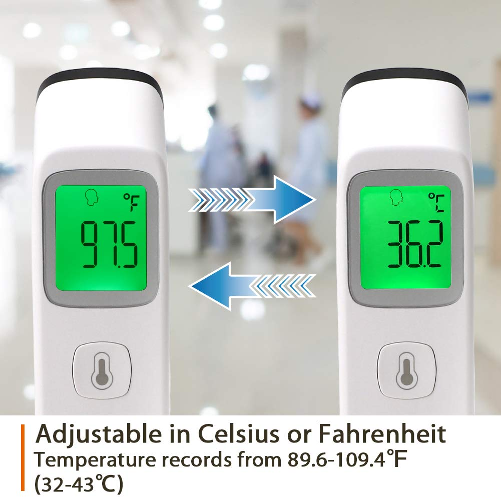 2020 New Infants Non Contact Medical Thermometer Fever Alarm Infrared Forehead Thermometer Adults School Office Use- FDA Certificate /& Fast Delivery Ideal for Baby Memory Function