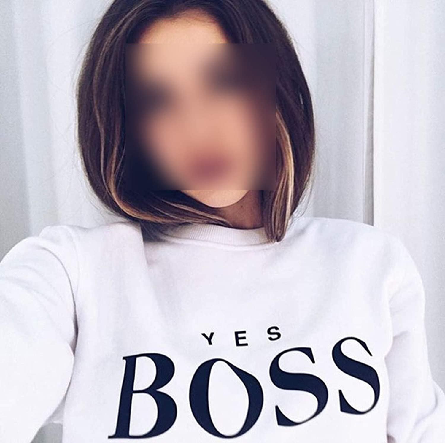 Yes Boss Letter Hoodies Cotton Basic Student BF Style Pullovers Sports Loose Tops Long Sleeve Sweatshirts