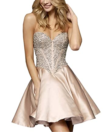 2018 Sweetheart Homecoming Dresses A-line Plears Beaded Crystal Prom Gowns Graduation Dress Cheap Nude