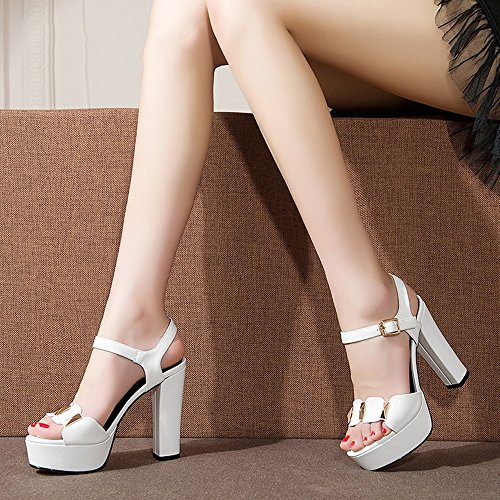 mujeres punta Blanco plataforma Rojo grueso de ZHIRONG metálicas de zapatos CM romanos de de las pescado zapatos Color de abierta lentejuelas impermeable alto tacón 5 boca 11 Sandalias verano Tamaño wYwPX