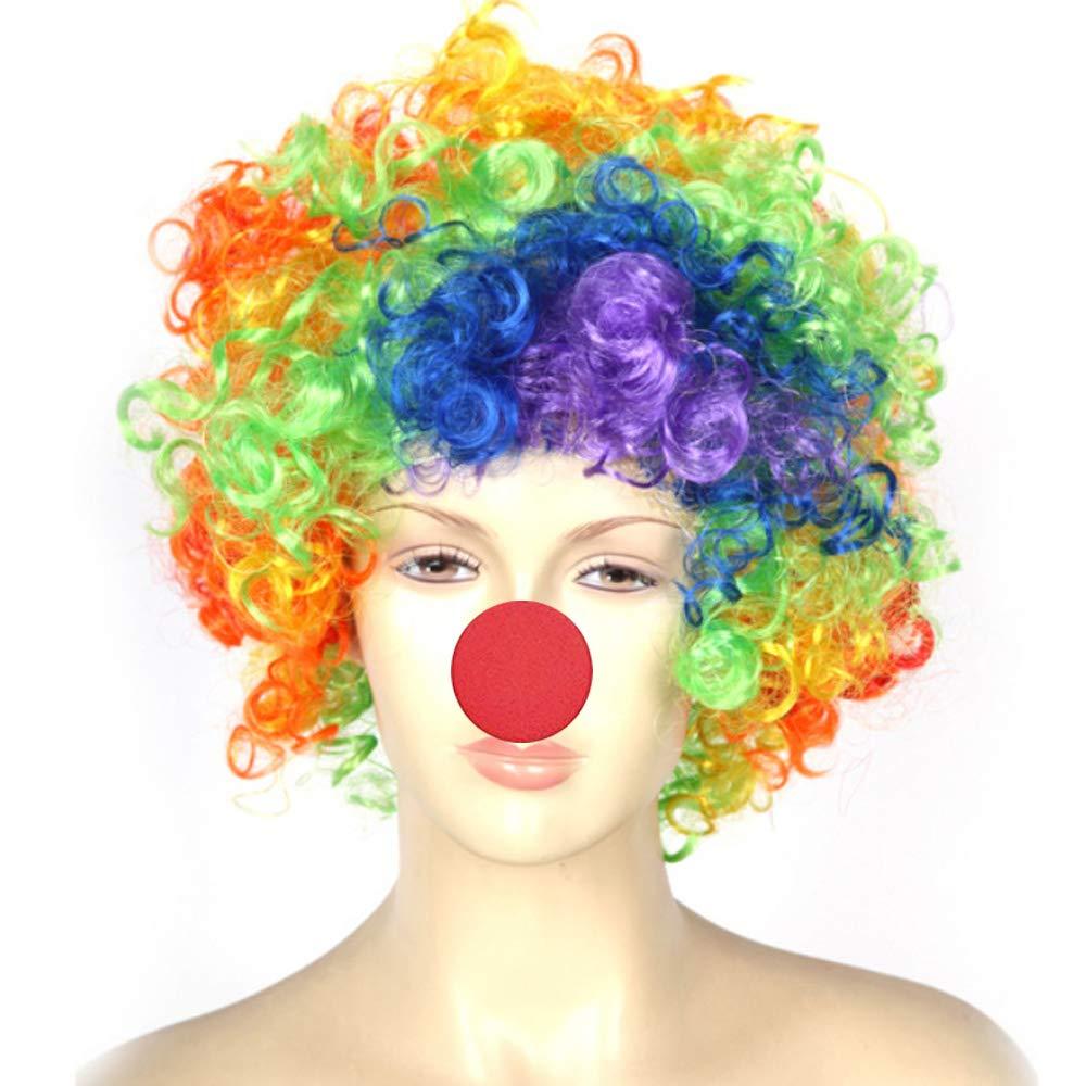 Baanuse Payaso Peluca y Nariz para Adulto Ni/ños Halloween Clown Cosplay