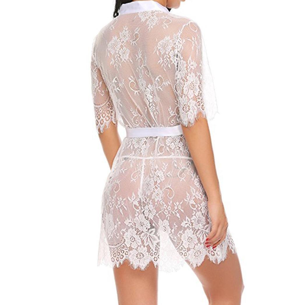 Yesmile Ropa de Interior Pijama Barata Mujer Babydoll Lencería para Mujer Erótica Kimono Transparente Ropa de Dormir de Encaje de Pestañas Batas Larga de ...