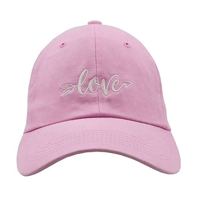 c47af47d549 Amazon.com  Nissi Love Dad Hats (Pink w White Textt)  Clothing