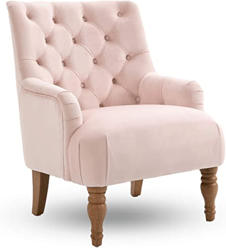 Modern Accent Velvet Living Room Chair Single Sofa Comfy Upholstered Armchair Living Room Furniture Pink