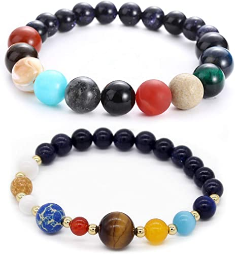 Natural Crystal Stone Beads Bracelet Universe Galaxy Solar System planet healing