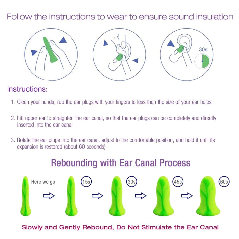 Perfect for Snoring Ear Plugs for Sleeping Study 2 Pair with Aluminum Carry Case Working ANBOW Noise Cancelling Earplugs 32db Highest NNR Travel
