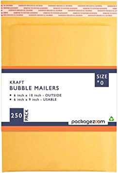 PackageZoom #0 6x10 Padded Envelopes Kraft Bubble Mailer Shipping Envelopes 250 Pack