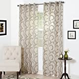 Lavish Home Andrea Embroidered Curtain Panel For Sale