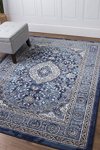 5 x 7 Area Rug Blue  Ivory Oriental Medallion Rug for Living Room Dining Room Bedroom Transitional Vintage Distressed Design [ 5′ 3 x 7′ 3 ]