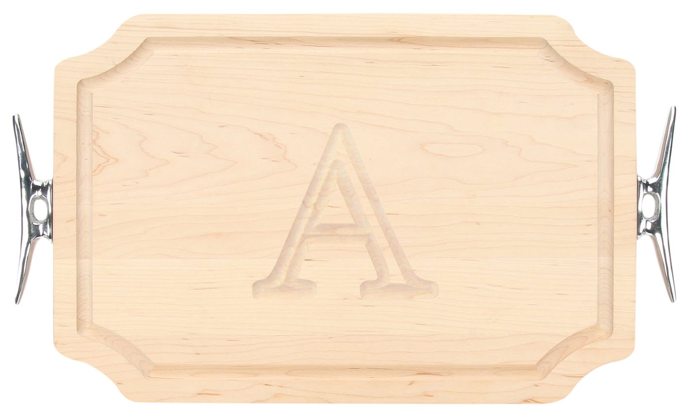 15-Inch by 24-Inch by 1.25-Inch MonogrammedL BigWood Boards 320-LCLT-L Carving Board with Scalloped Corners with Large Boat Cleat Handle in Cast Aluminum Maple MonogrammedL