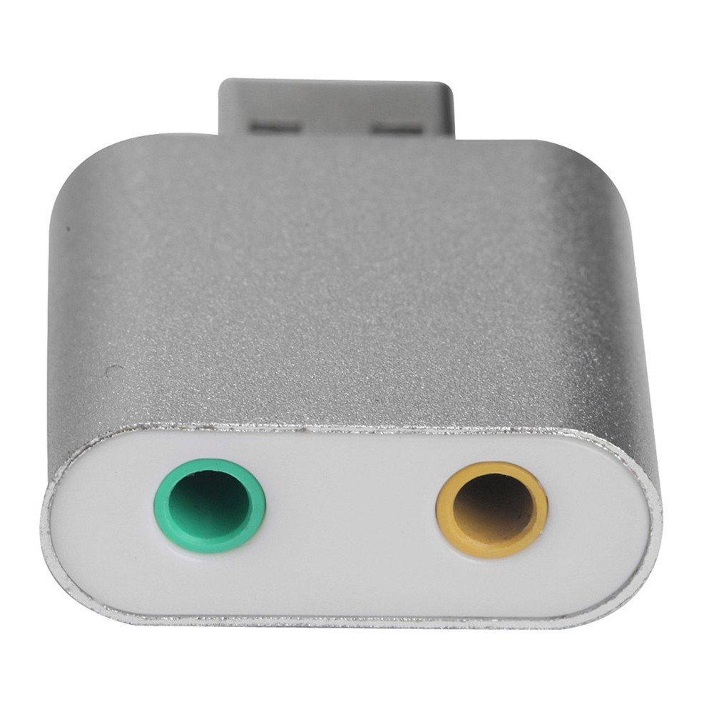Scheda audio USB, Stereo esterno in alluminio con USB adattatore del suono per Windows, Linux e Mac. Pronto all'uso (Plug and play) senza necessità di driver Linux e Mac. Pronto all'uso (Plug and play) senza necessità di driver Gyges