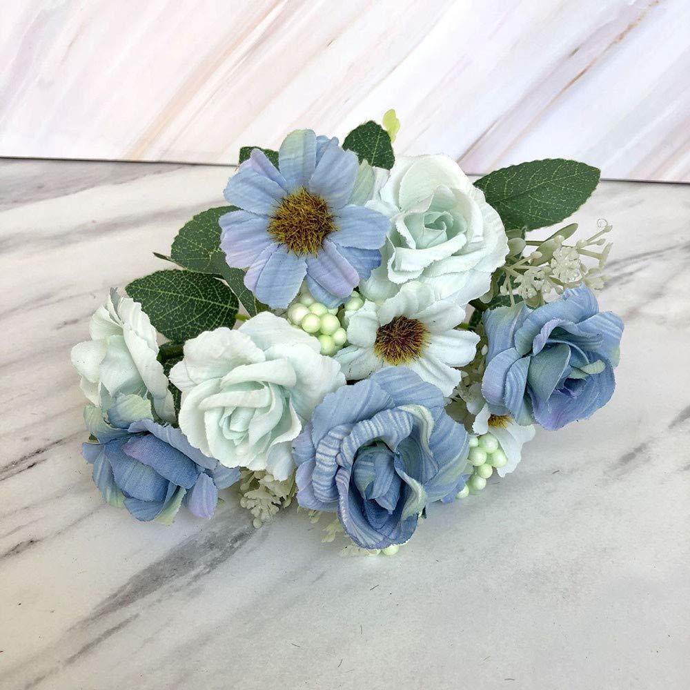 NIHAI 造花 本物そっくり 美しい 人工 小さなバラの花 屋内 屋外 ウェディングブーケ ブライダル アジサイ ガーデンパーティー ホームデコレーション Height is about 30cm, flower diameter is about 4cm ブルー B07Q2ZP8Y6 スカイブルー