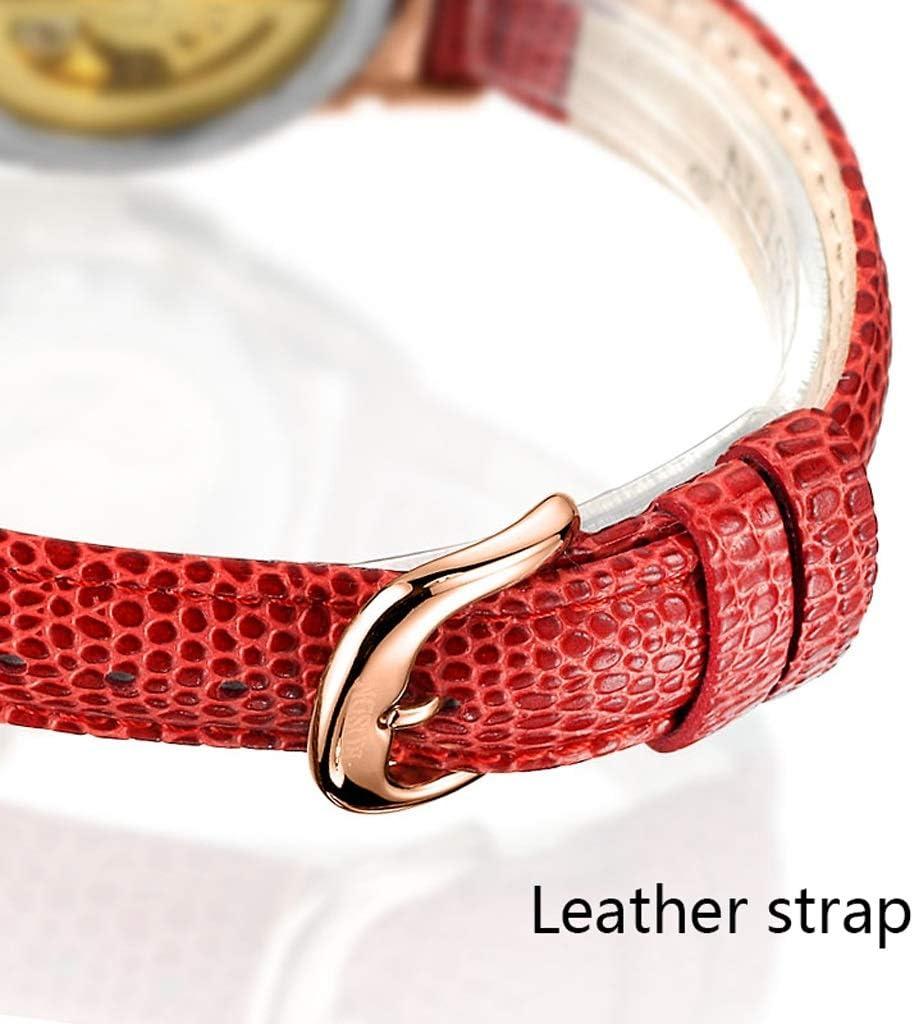 LZ Lady Mechanical Tourbillon Watch Bradshaw en Forme de Coeur Creux Shall Montres Visage, 50M Montre-Bracelet en Cristal de Bande de Cuir imperméable pour Cadeau de Noël (Couleur : Blanc) Blanc