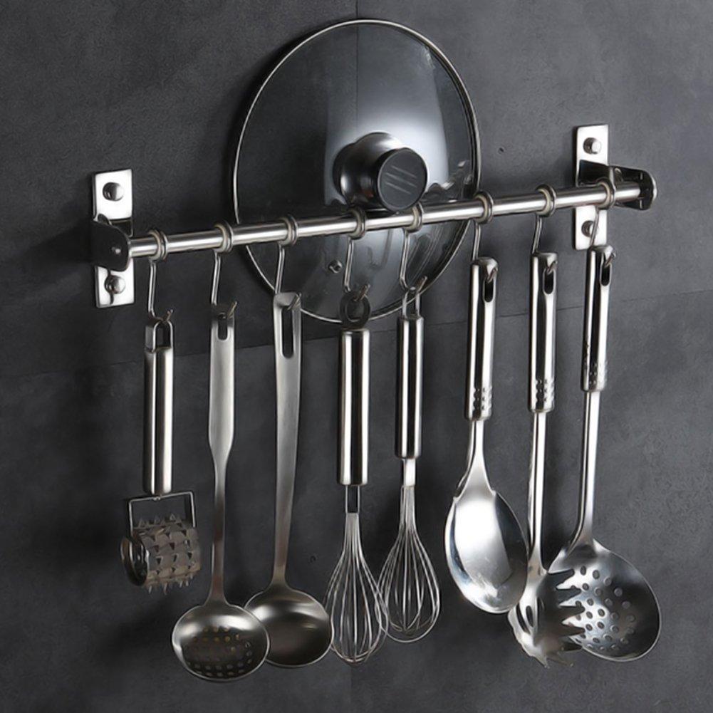 Percha para estante de cocina, acero inoxidable, organizador de utensilios multiusos, soporte de pared para sartenes, utensilios colgantes con 6 ganchos (40 ...