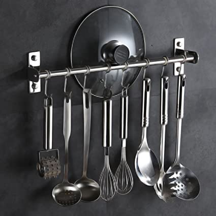 Amazon.com: Pan Pot Rack Wall Mounted Kitchen Pan Holder Stainless Steel Hanging Rail Hooks Storage Hanger Cookware Organizer for Spatula Pan Saucepan ...