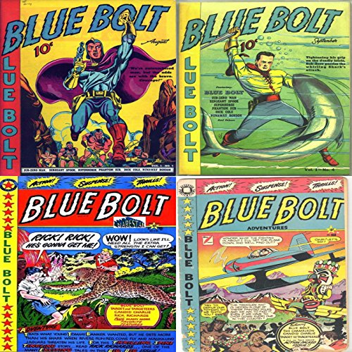 Blue Bolt. Issues 3, 4, 102 and 103. Includes Sub-zero man, seargent spook, phantom sub, dick cole, runaway ronson, Target, candid charlie, rick richards and action packed adventures. Digital Sky