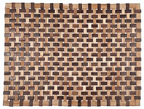 KensingtonRow Home Collection Door Mats - Southampton Wooden Doormat - Mixed Wood Tones - 18