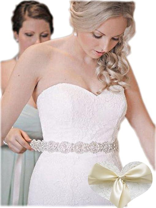 Amazon Com Kunlai Rhinestones Bridal Sash All Around Silver Claws