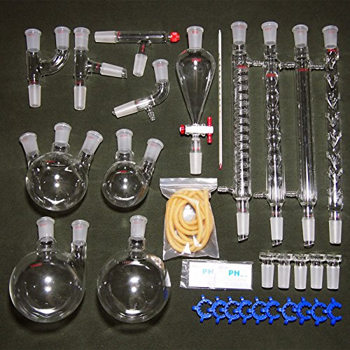 24 40 New Organic Laboratory Glassware Kit 32 Pcs Lab Unit