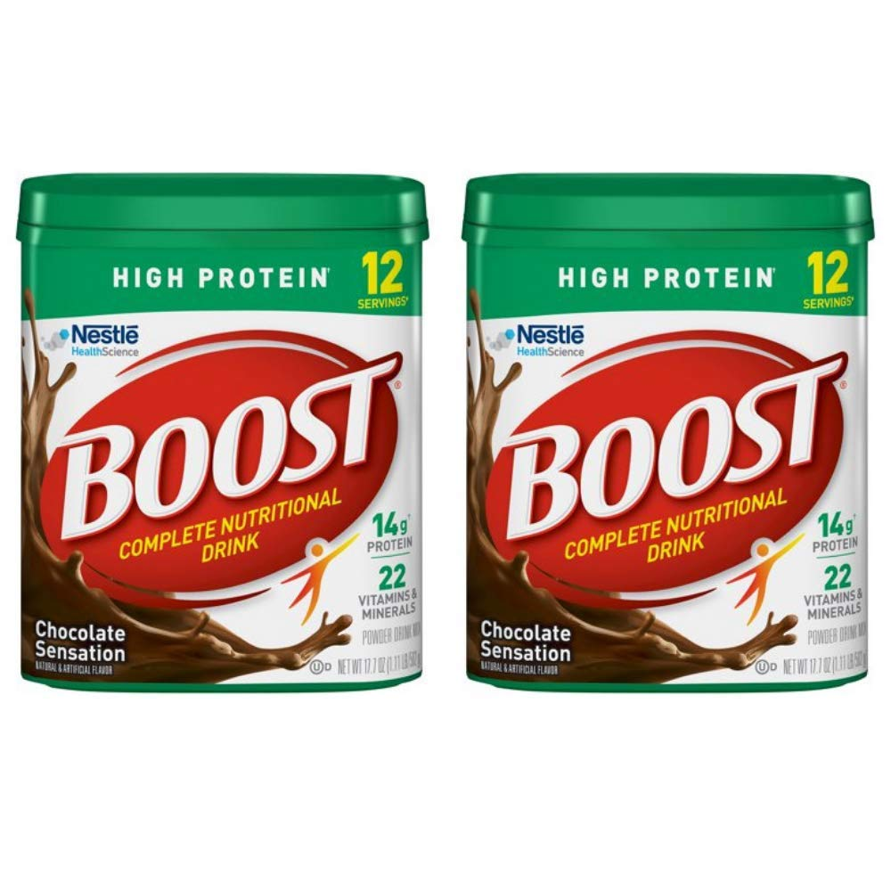 Boost High Protein Powder Drink Mix, Chocolate Sensation, 17.7 Ounce Canister - 2 pack