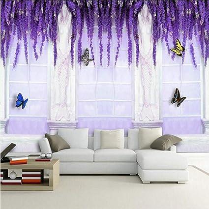 Amazon.com: hwhz Custom 3D Mural Wallpaper Bedroom Purple ...