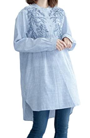 Tootless Women High Low Hem Striped Embroidered Plus Size Blouses