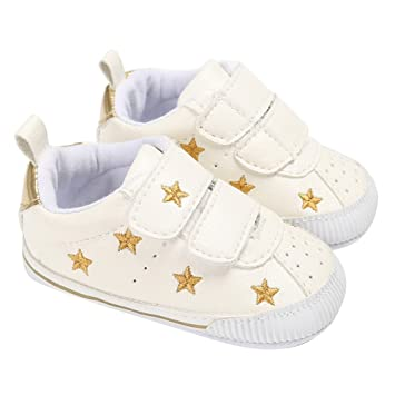 4cf94011891b Amazon.com   Fashion Newborn Baby Shoes Boys Girls Sneaker Gold Stars  Pattern First Walkers Shoes (White