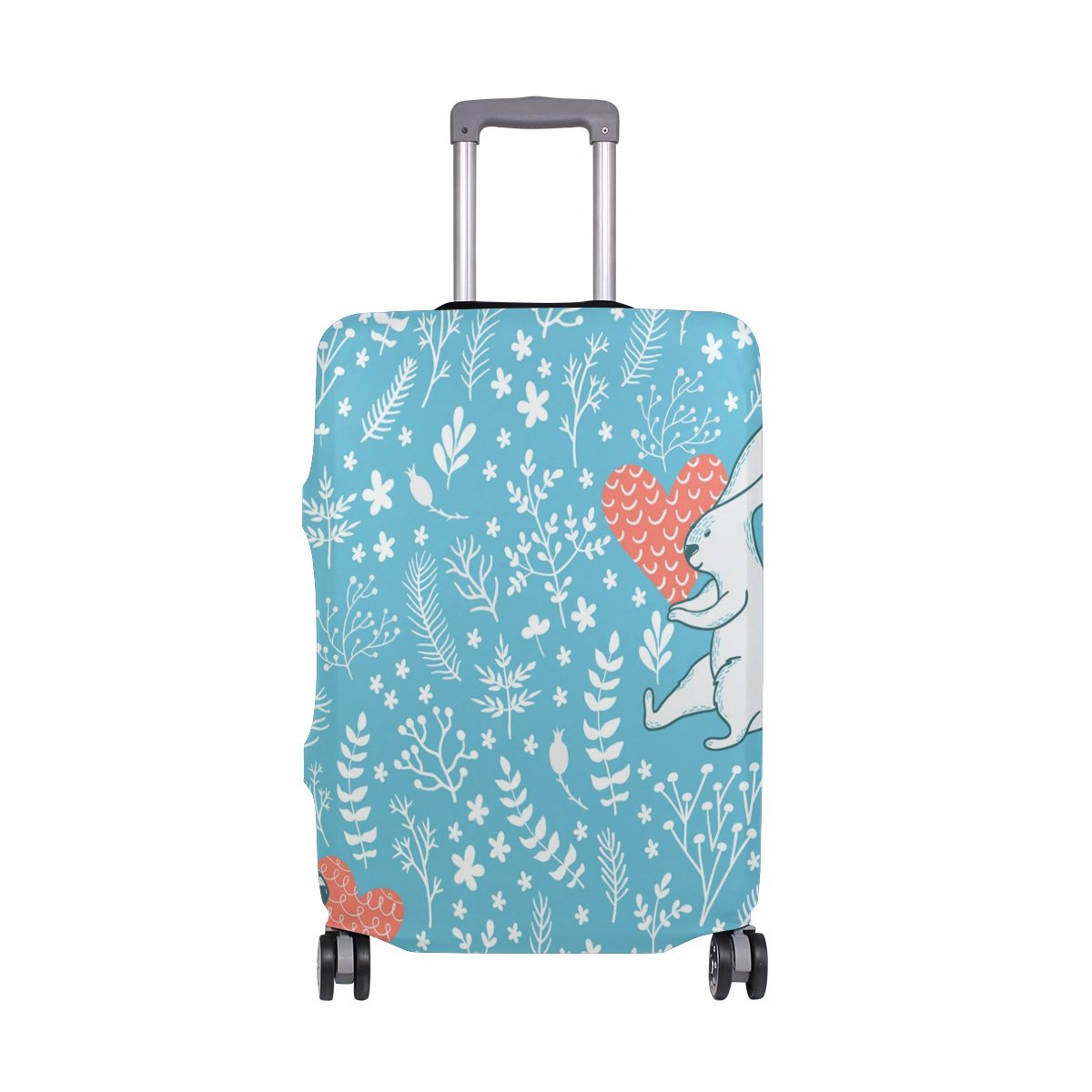 Cute Rabbit Love Floral Flowers Suitcase Luggage Cover Protector for Travel Kids Men Women
