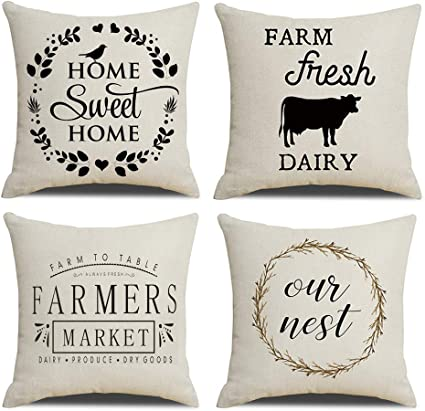 Nydecor Farmhouse Throw Pillow Covers Quote Pillow Case Cotton Linen Rustic Cushion Cover For Sofa Couch 18x18 Set Of 4 Housewarming Gifts Imam Safitriew254