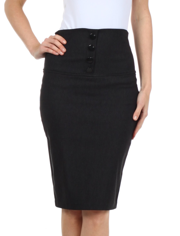Sakkas IMHighButtonI-9415 Petite High Waist Stretch Pencil Skirt with Four Button Detail - Charcoal / L