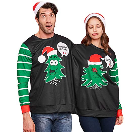 FEDULK Christmas Costume for Couples,Ugly Sweater Novety Naughty Double Stripe Print Jumper Blouse(