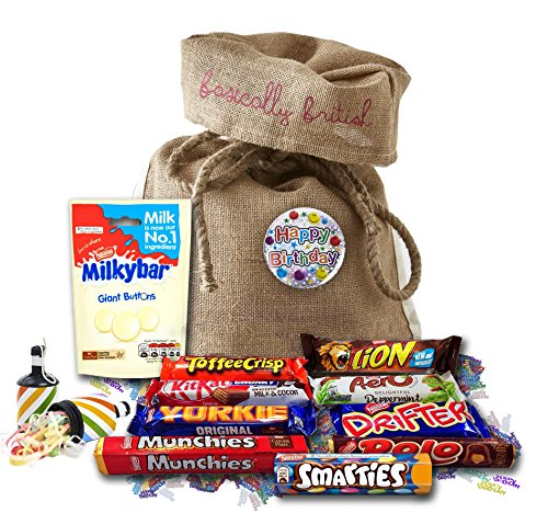 10 British Nestle chocolate bars by The Yummy Palette   Birthday chocolates Nestle Milky Bar Nestle Yorkie Nestle Rolo and more in Basically British Bag with Birthday Badge and confetti