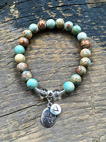 Womens Pisces Zodiac Bracelet with Moon Sign and Water Element Charms for Inner Peace