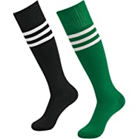 a010f0fa7 Fasoar Unisex Knee High Stripe Football Sports Tube Socks 2 Pack,6 Pack,10