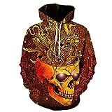 3D Skull Pullover Hoodie Printed Shirt Hip Hop Hoody Sweatshirts (Large, Gold)