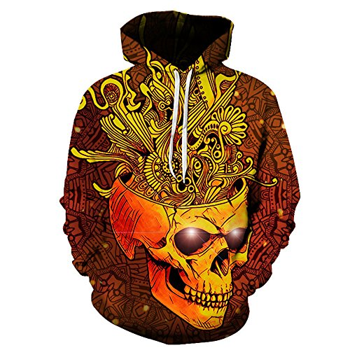 3D Skull Pullover Hoodie Printed Shirt Hip Hop Hoody Sweatshirts (Large, Gold) by VOSTE