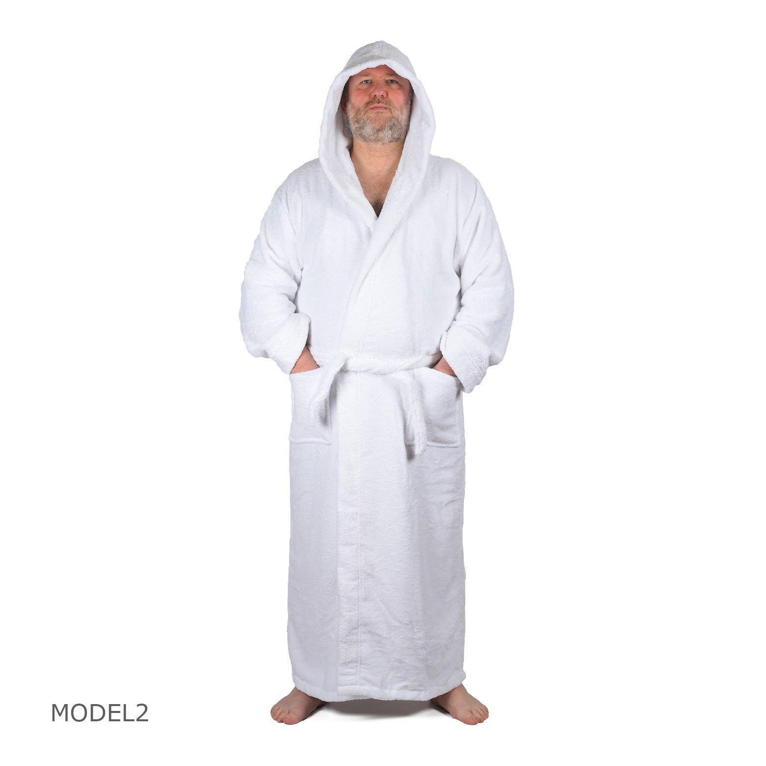 Arvec Men's Combed Turkish Cotton Terry Full Ankle Length Hooded Bathrobe (Medium/Large, White)