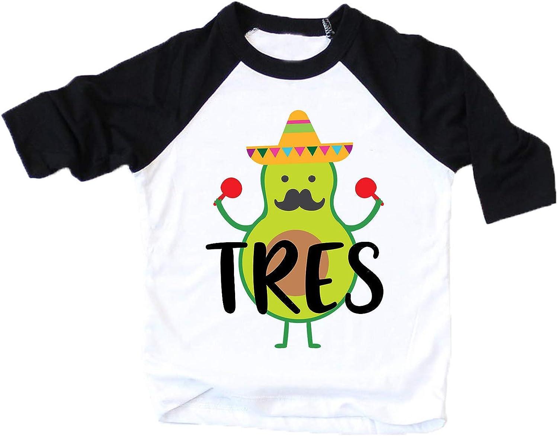 Little /& Gorgeous Boys Third Birthday Tres Shirt for 3rd Birthday Party Three Avocado Birthday Fiesta