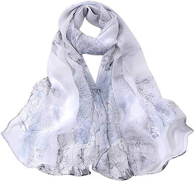 riou Elegante Bufanda de Algodon de Impresion Larga de Mujer Moda Lotus impresión Larga Suave Envoltura Bufanda Damas Chal Bufandas: Amazon.es: Ropa y accesorios